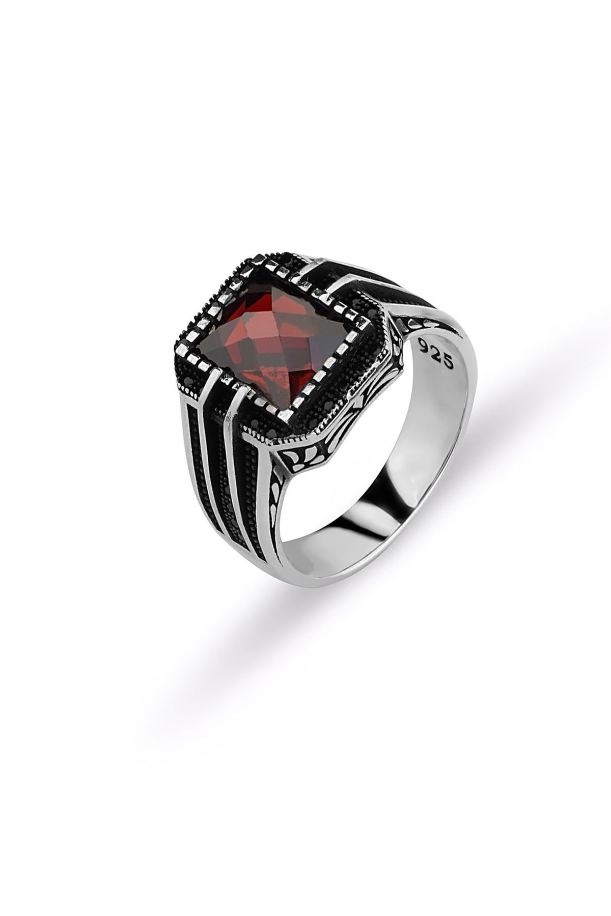 MySilvers Kesme Kırmızı Taşlı Erkek Yüzüğü Erkek Oksit 1