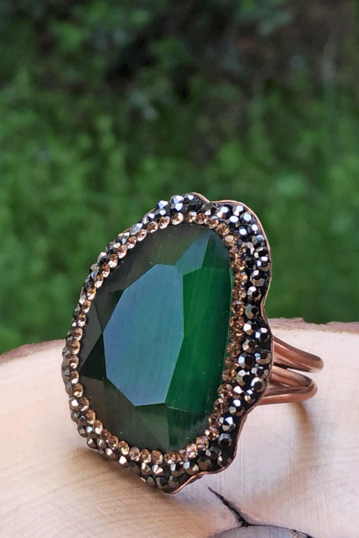 Stoneage Yeşil Kristal Ayarlanabilir Bayan Yüzük 2