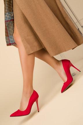 SOHO Kırmızı Süet Kadın Klasik Topuklu Ayakkabı 14315