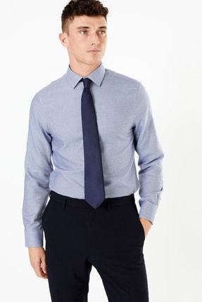 Marks & Spencer Erkek Lacivert Desenli Slim Fit Gömlek T11001266S