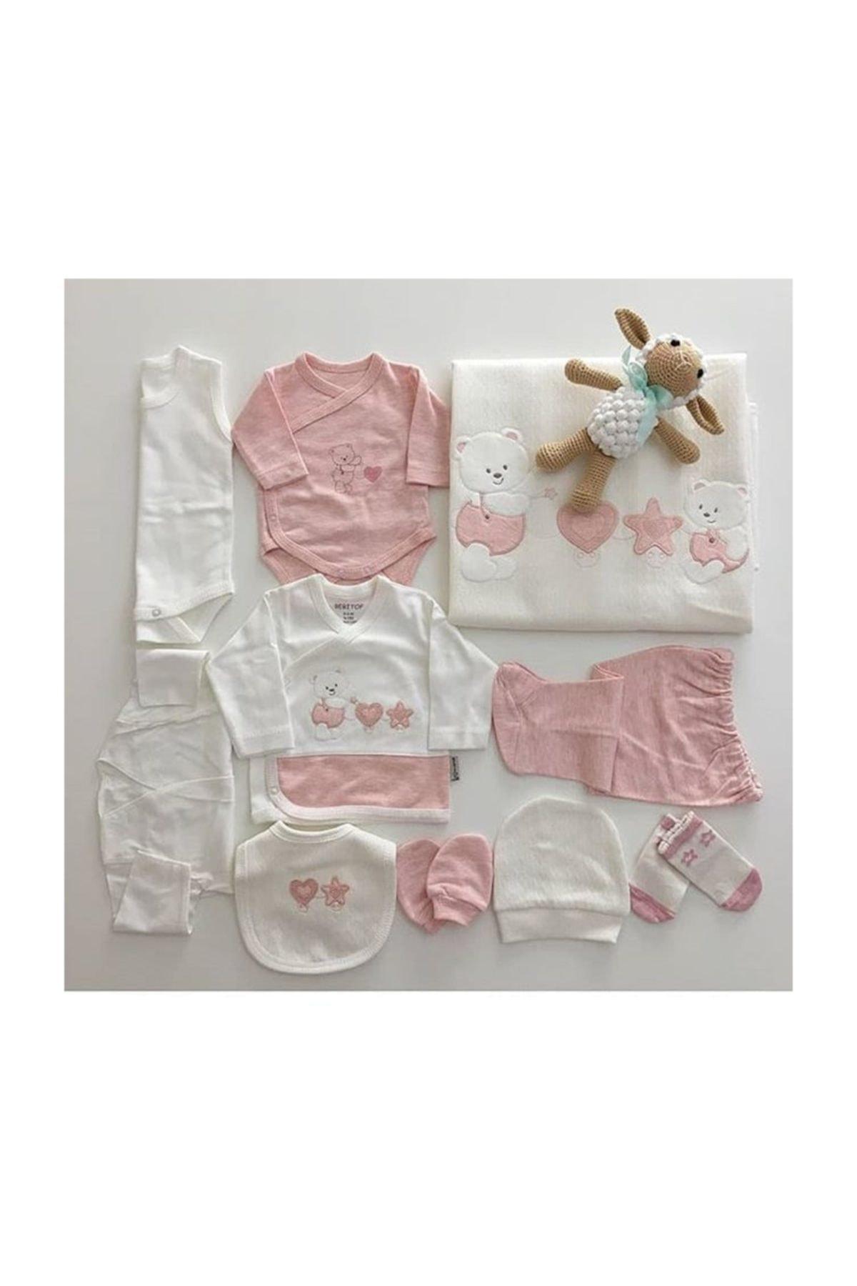 Bebitof Baby Kız Bebek Beyaz-Pembe Bebitof Yeni Sezon  10 Lu Hastane Çıkışı Seti 905 1