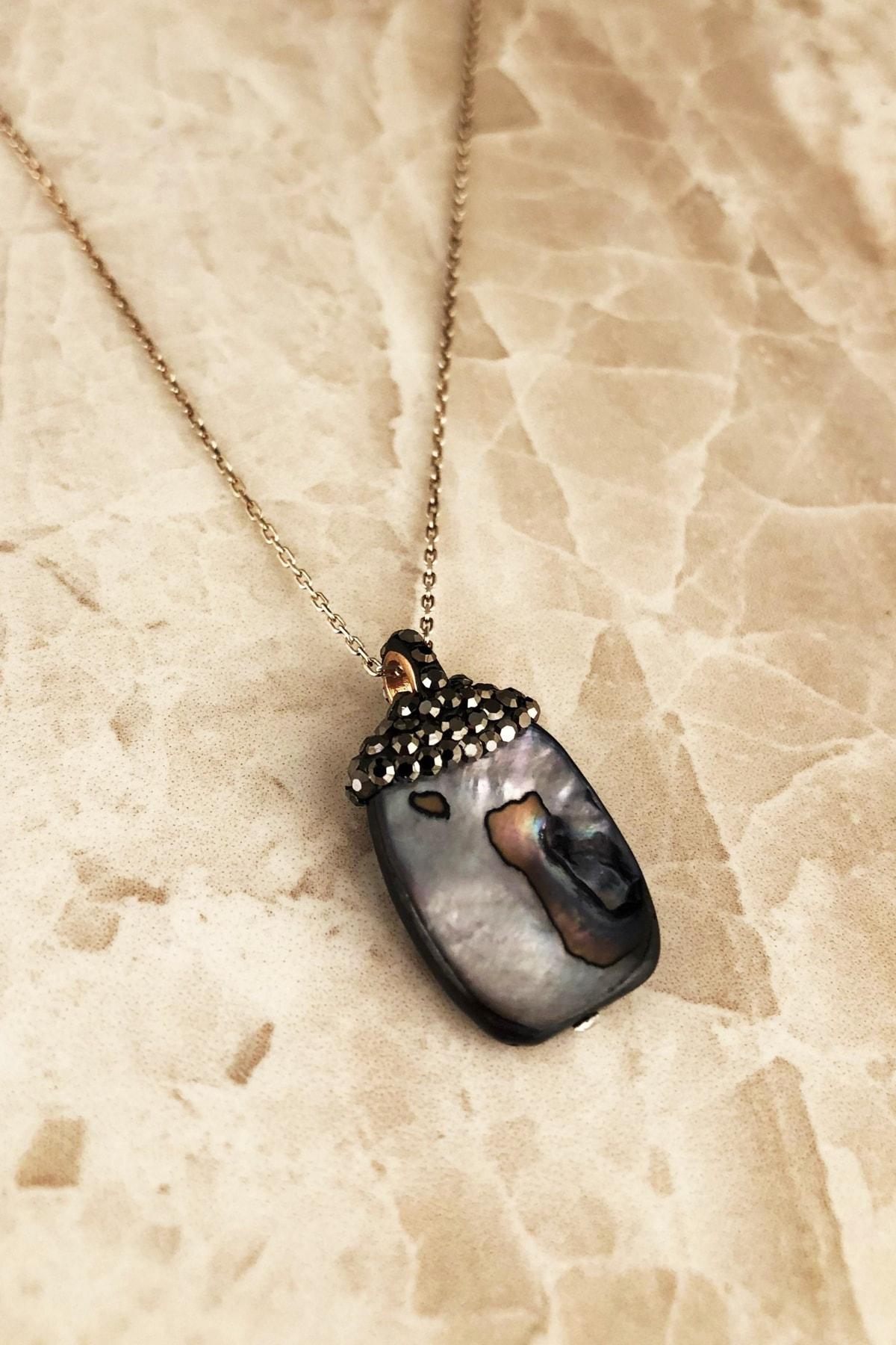 Dr. Stone Doğaltaş Kadın Sedef Taşı 925 Ayar Gümüş Kolye RYL126 1