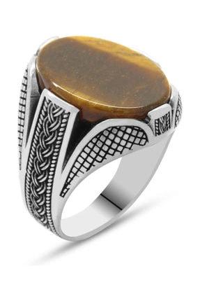 Tesbihane Kaplangözü Taşlı Örgü Tasarım 925 Ayar Gümüş Erkek Yüzük