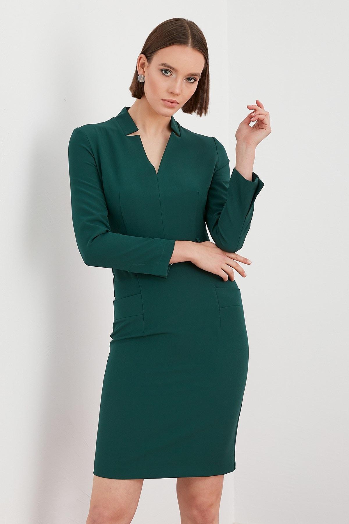 Journey Kadın Yeşil İçe Dönük Dik Yaka Bel Deri Kemer Detaylı Uzun Kol Kalem Elbise 19KELB427