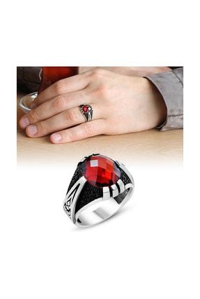 Tesbihane Pençe Tasarım Kırmızı Zirkon Taşlı 925 Ayar Gümüş Erkek Yüzük 102001118