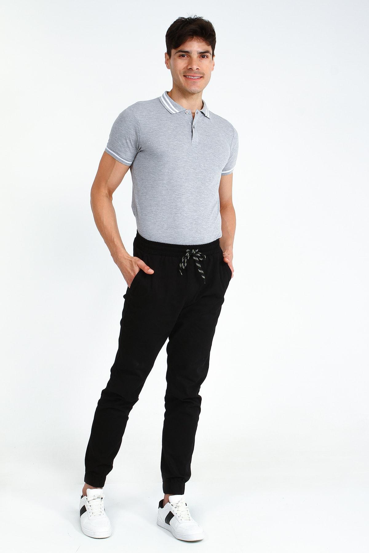 Collezione Siyah Erkek Sıyah Spor Düz Regular Pantolon