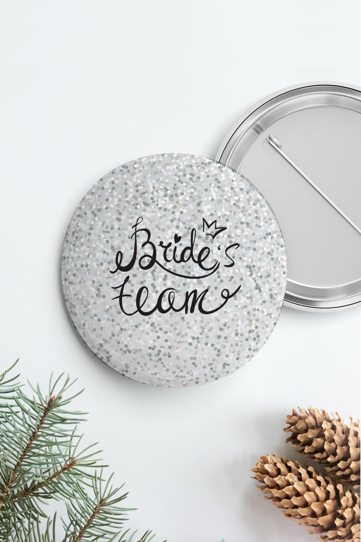 PEKSHOP Bekarlığa Veda Brides Team Rozet, Gümüş Parıltılı 1