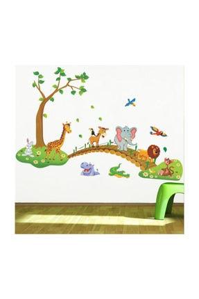 KT Decor Çocuk Odası Dekorasyonu Duvar Dekoru Ağaç Köprü Ve Hayvanlar