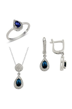Mercan Silver Safir Taşlı Gümüş Set