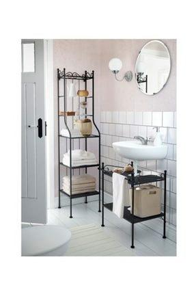 IKEA Rönnskar Banyo Dolabı Açık Raf Ünitesi Siyah Renk