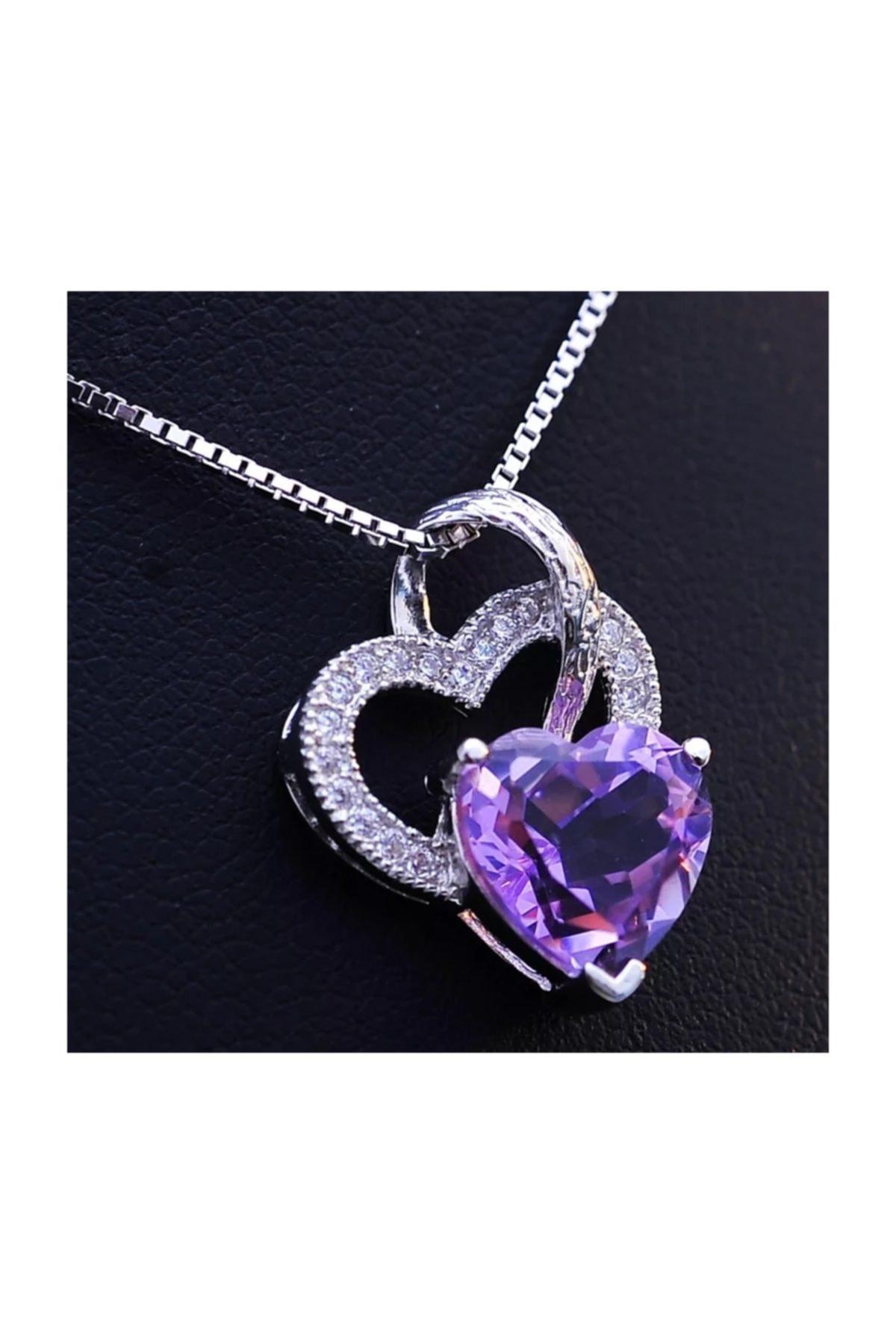Enesstore Gümüş Ametist Taşlı Çift Kalp Kadın Gümüş Kolye 2