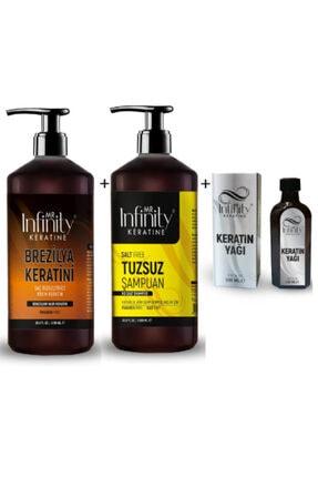 mr infinity Infinty Exp Saç Düzleştirici Keratin Bakım + Tuzsuz Şampuan + Keratin Yağı 100ml