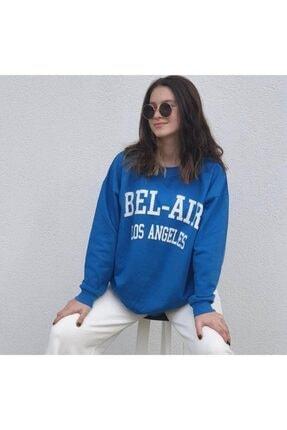 ELİMER Kadın Mavi Önü Baskılı Sweatshirt