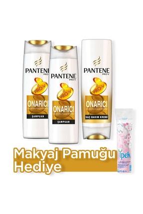 Pantene Onarıcı Ve Koruyucu Şampuan 500 ml  x 2 + Saç Bakım Kremi 470 ml  + Makyaj Pamugu Hediye