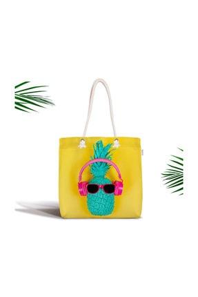 Realhomes Sarı Zeminli Ananas Detaylı Modern Fermuarlı Kumaş Çanta Canta-3234