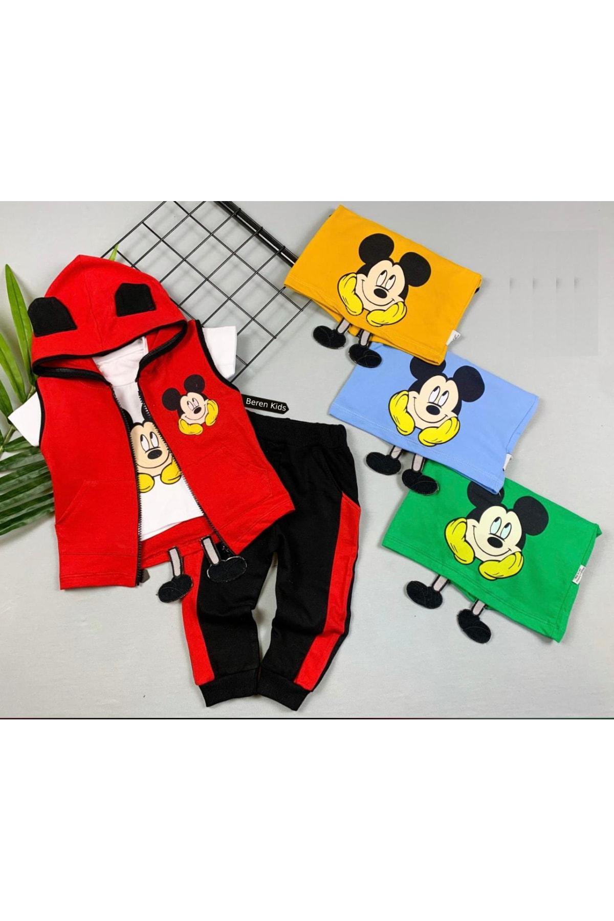 Beren Kids Erkek Bebek Kırmızı Mickey Baskılı Kapüşonlu 3'lü Alt Üst Takım 1