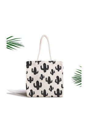 Realhomes Siyah Beyaz Kaktüs Desenli Fermuarlı Modern Kumaş Çanta Canta-2028