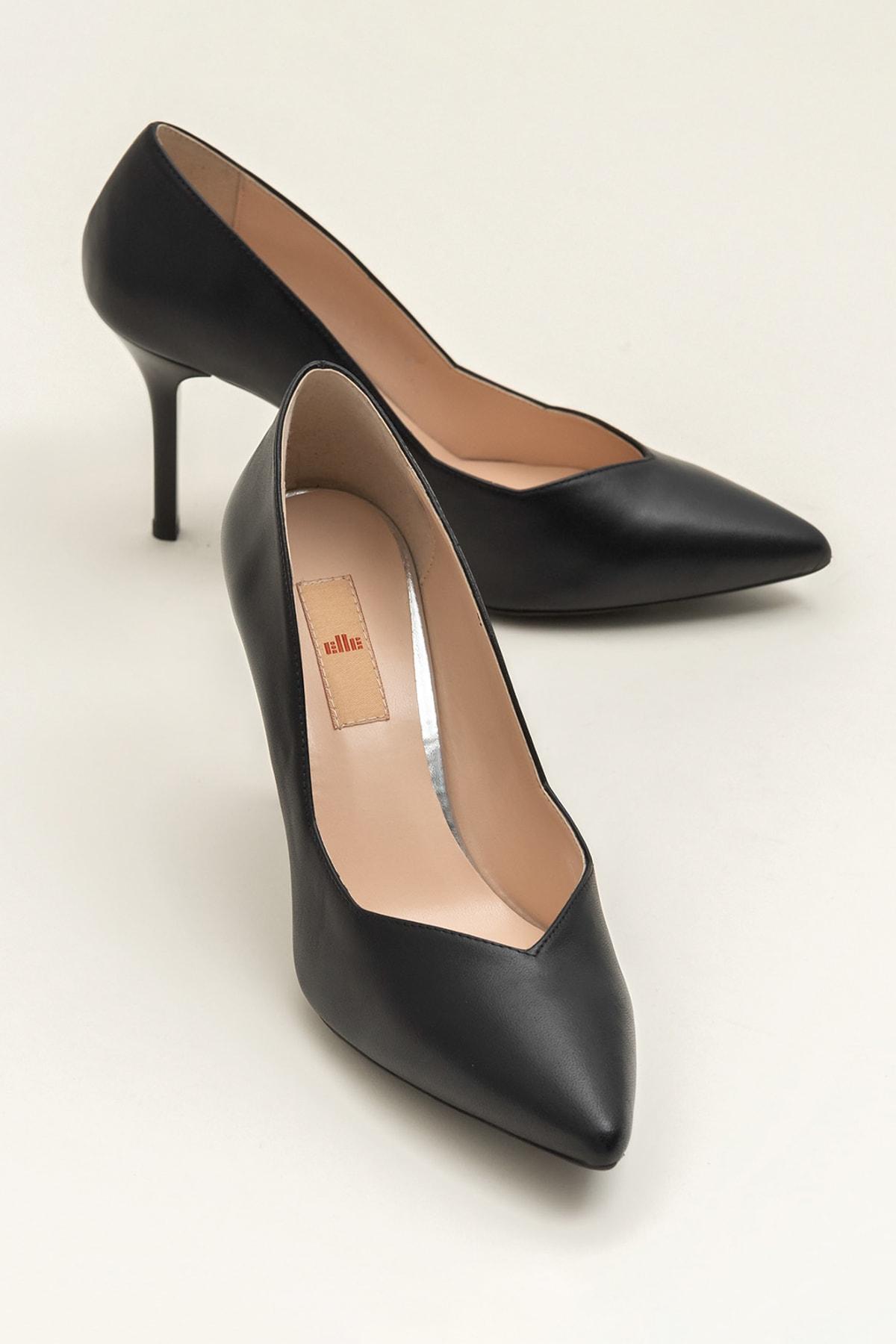Elle Shoes Hakiki Deri Siyah Kadın Topuklu Ayakkabı 1