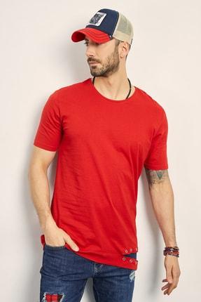 Sateen Men Erkek Kırmızı Eteği Kuş Gözü Basic T-Shirt 114-2319