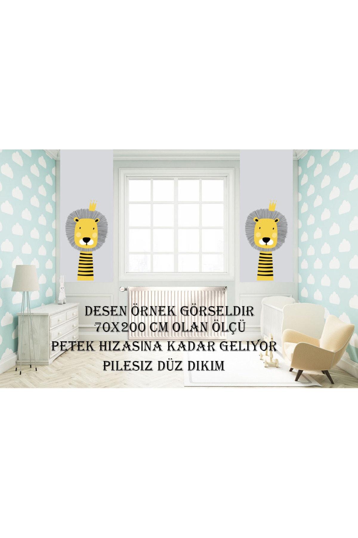 CİCİ TASARIM ÜRÜNLERİ 1 Kanat Sarı Dalgalı Şerit Gri Beyaz Desen Çocuk Bebek Odası Perdesi Fon Perde 2