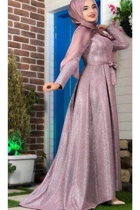Bym Fashion Gülkurusu Tesettür Abiye Elbise