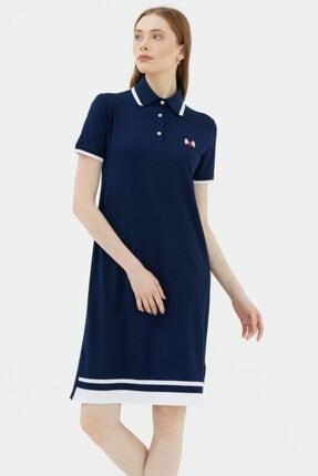 Sementa Kadın Polo Yaka Pike Elbise - Lacivert
