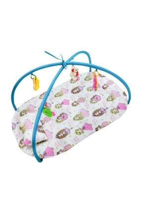 hupim 100% Pamuk Kumaş Turkuaz Prensesli Bebek Oyun Halısı Ve Çocuk Oyun Alanı