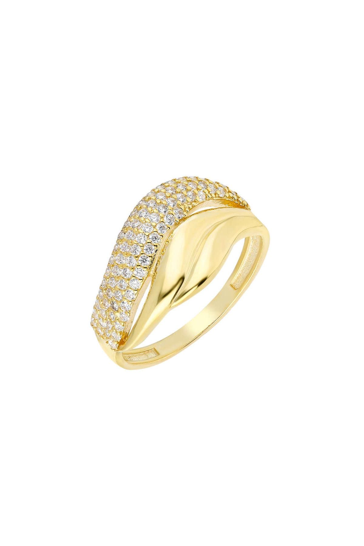 Tesbihane Zirkon Taşlı Wave Tasarım Gold Renk 925 Ayar Gümüş Bayan Yüzük 102001737 2