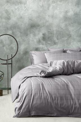 Yataş Bedding Destra Çift Kişilik Saten Nevresim Takımı-Füme