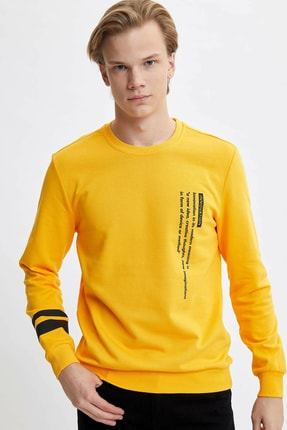 DeFacto Erkek Sarı Baskılı Slim Fit Sweatshirt M5406AZ.20SP.YL209