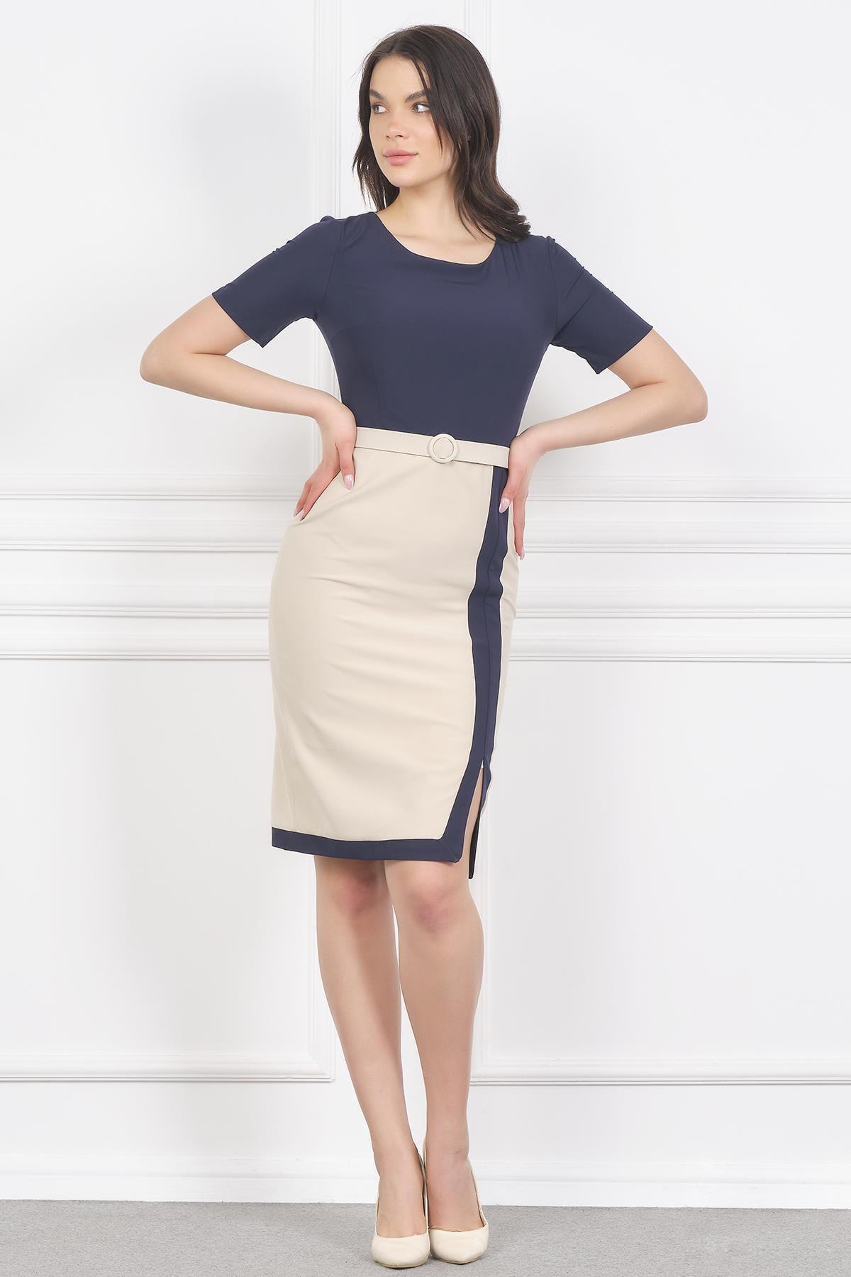 Shahiqa Çift Renkli Kemerli Şık Ofis Elbise 1