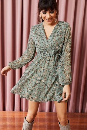 Olalook Kadın Mint Astarlı Kuşaklı Kruvaze Şifon Elbise ELB-19000999