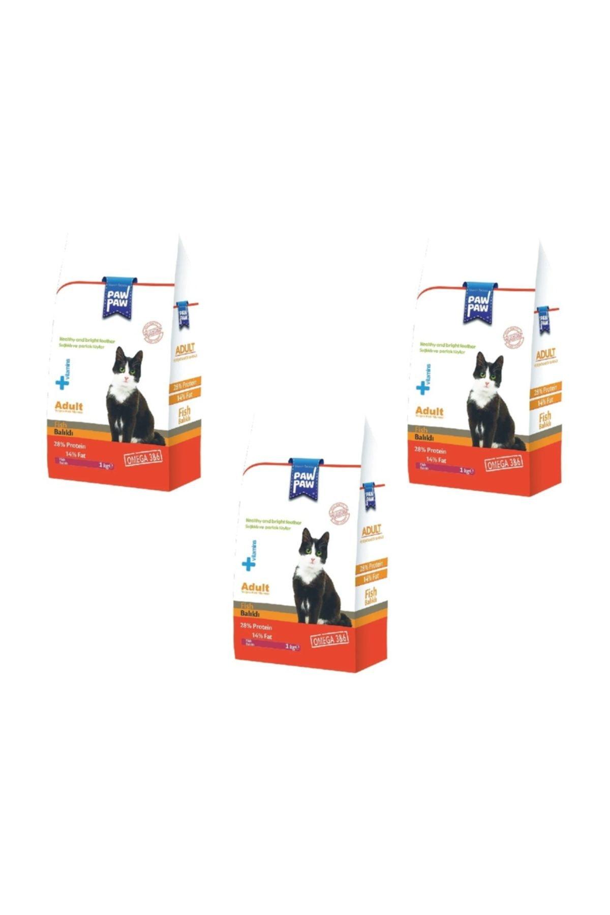 Paw Paw Balıklı Yetişkin Kedi Maması 1000 gr * 3 Adet 1