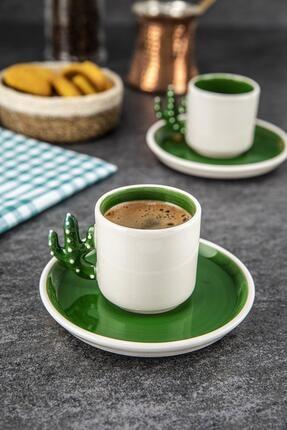 Doreline Kaktüs El Yapımı Türk Kahvesi, Espresso Fincanı Yeşil 2 Adet, Hediyelik 2 Li Fincan