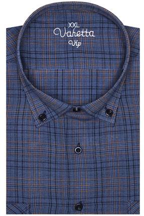 Varetta Erkek Lacivert Kısa Kol Büyük Beden Keten Efektli Yaka Düğmeli Gömlek