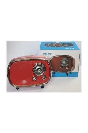 MBTEKNOLOJİM Db-09 Mini Retro Style Bluetooth Hoparlör Fm Radyo Sd Kart Ve Usb Girişli Speaker Kırmızı