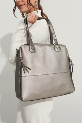 Bagzone Gümüş Kadın  Fermuar Detaylı  Omuz Çantası 10Va2049