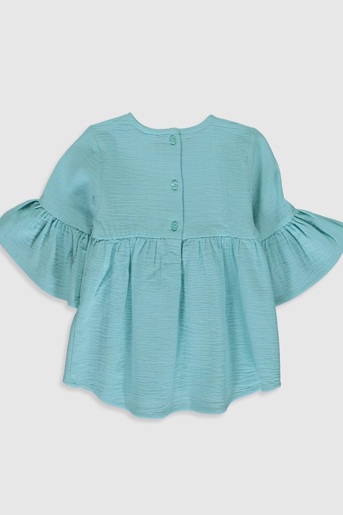LC Waikiki Kız Bebek Mat Turkuaz Fjj Bluz 2