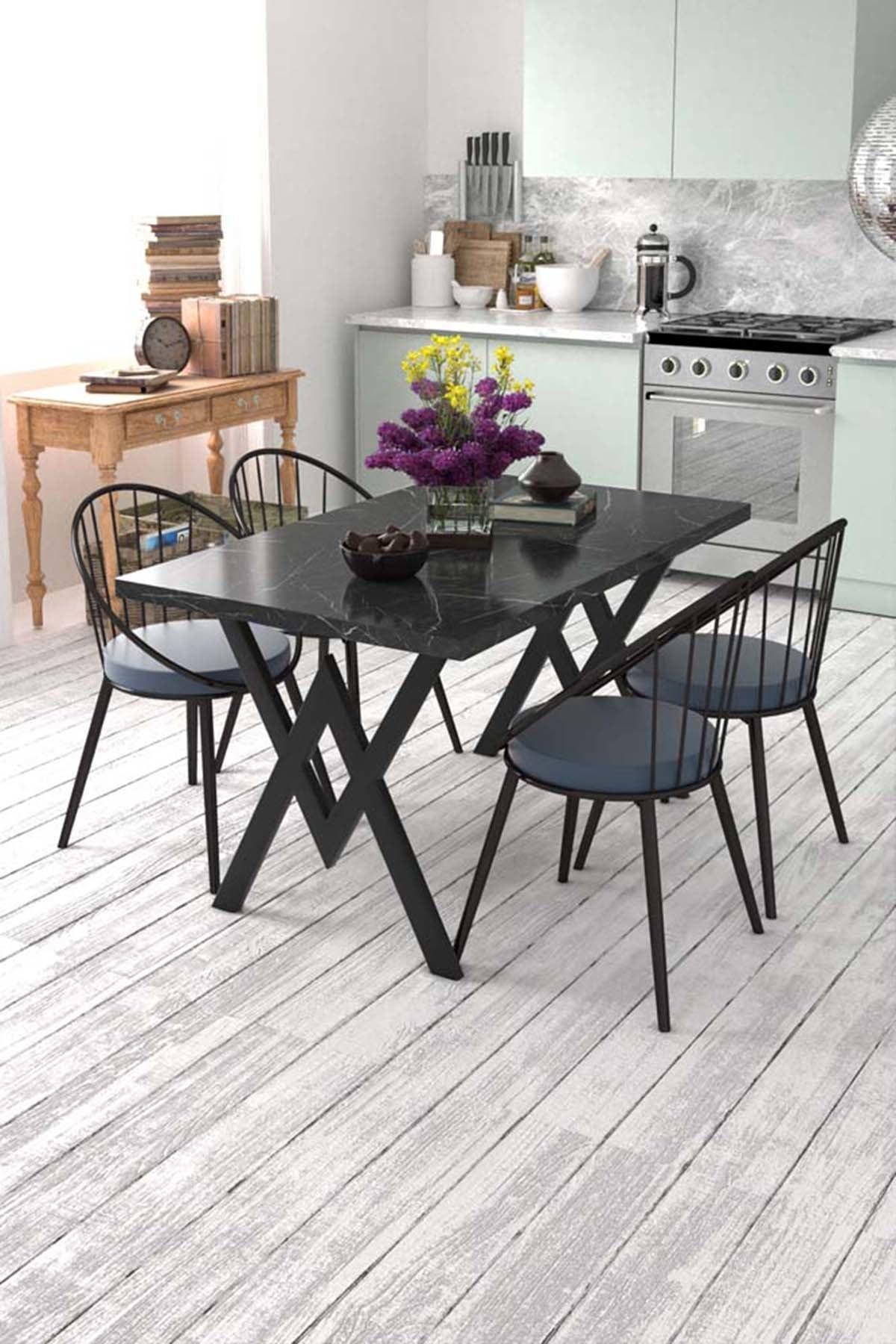 Evdemo Eylül 4 Kişilik Mutfak Masası Takımı Siyah Mermer Desen Mavi 1