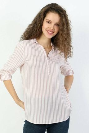 Colin's KADIN Regular Fit Shirt Neck Kadın Pembe Uzun Kol Bluz CL1048441