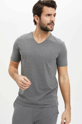 DeFacto Erkek Antrasit Basic Slim Fit T-Shirt