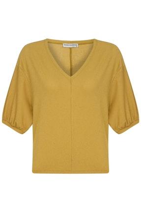 Mudo Kadın Bal V Yaka Casual Bluz 372990