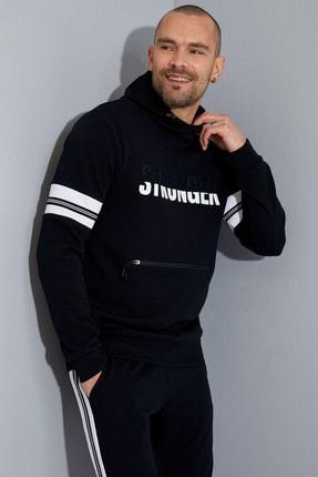 DeFacto Stronger Baskılı Kapüşonlu Extra Slim Fit Spor Sweatshirt