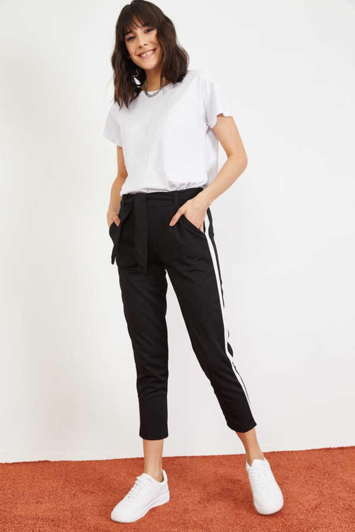 Bianco Lucci Kadın Siyah Yan Şerit Beli Lastikli Crep Pantolon 10021046