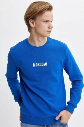 DeFacto Erkek Mavi Slim Fit Baskılı Sweatshirt N2567AZ.20SP.BE114