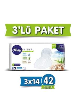 Sleepy Hijyenik Ped Natural Ultra Hassas Maxi Kalın gece(3X14) Süper Eko