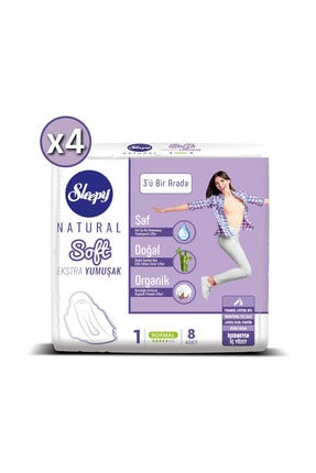 Sleepy Hijyenik Ped Natural Soft Ekstra Yumuşak Normal 8'li x 4