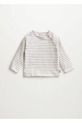 MANGO Baby Unisex Bebek Kırık Beyaz Çizgili Uzun Kollu Tişört 87034051