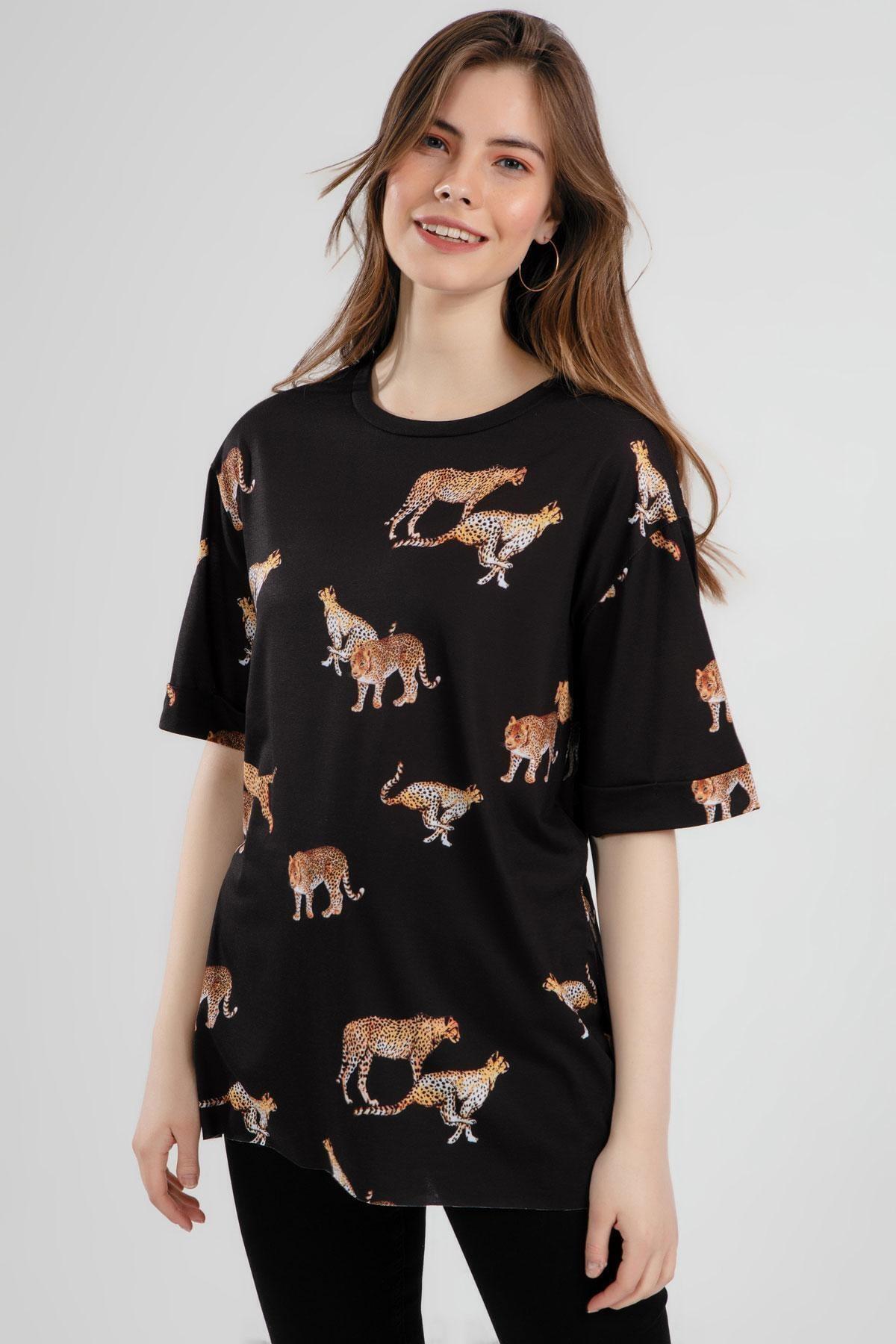 Pattaya Kadın Çita Baskılı Yırtmaçlı Kısa Kollu Tişört Y20s110-4133 1