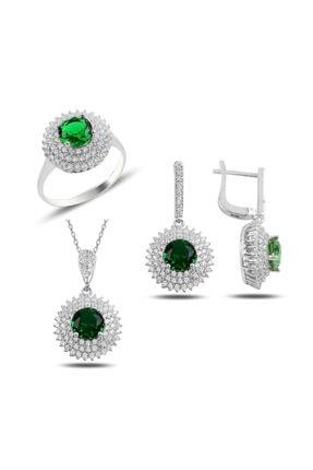 Mercan Silver Gümüş Yeşil Taşlı  Set